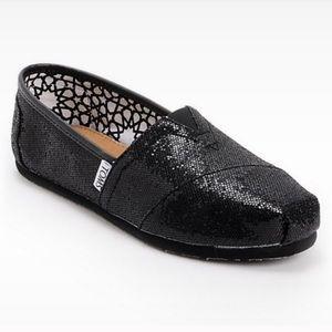 Black Glitter Sparkle Classic Toms